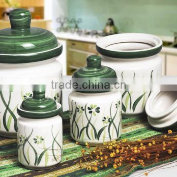 4pcs Ceramic Canister Set With Lid