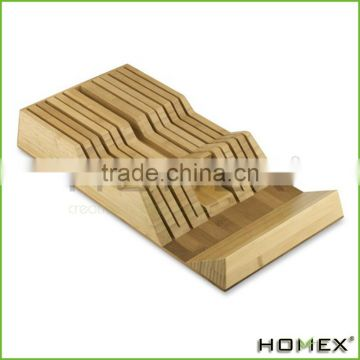 Bamboo knife holder knife tray for 10-15 knives Homex BSCI/Factory
