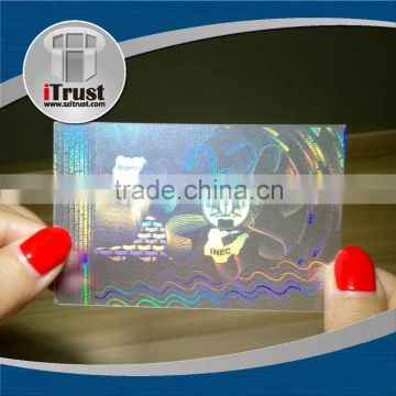 Custom transparent hologram overlays for id cards holographic overlay for pvc cards