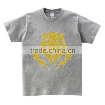 hotfix glitter lightning tiger motif custom design men Tshirt