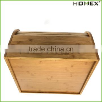Bamboo Roll Top Vintage Bread Box with One Shelf Homex BSCI/Factory