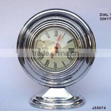 Round cast Alumnium table clock on oval base available in other finishes available