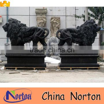 Norton factory price China black marble mighty lions main gate decor NTBM-L004L