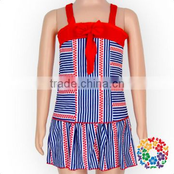 Wholesale Girls Small Stripe Tankini Swimwear Smocked Swimsuits Toddler