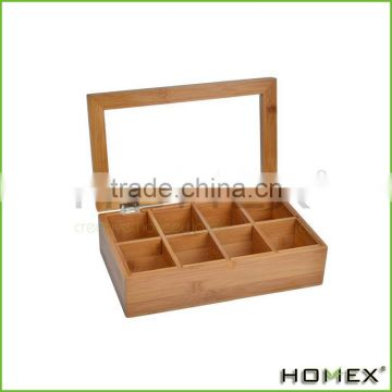 Bamboo Tea Box with Clear Lid, Natural/Homex_Factory