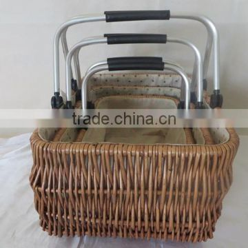 Hand woven antique shopping willow market basket with aluminum handle