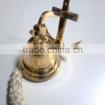 Polished Heavy weight Brass ship bell with Holy Cross hanger & lanyard