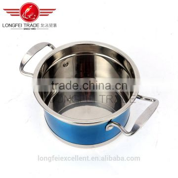 2016 new design popular shape large cheap stainless steel soup pot set/camping cookware