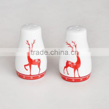 Promotional Ceramic Christmas Items, High Quality Salt And Pepper with customized printing