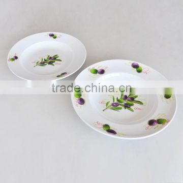 5PCS Ceramic Pasta Bowl Set With Olive Design