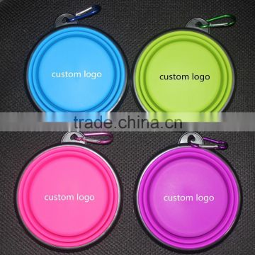 Custom logo printing silicone travel dog bowl