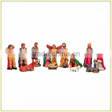 Bespoke polyresin white mini nativity set figurines religious craft