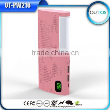 Fast charging quick charge 2.0 power bank with lamp function