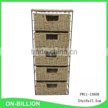 5 drawer storage unit seagrass storage drawer