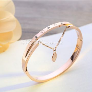 Gold Rose Gold Silver PVD Plating Womens Stainless Steel Bracelet Bangles Armbänder