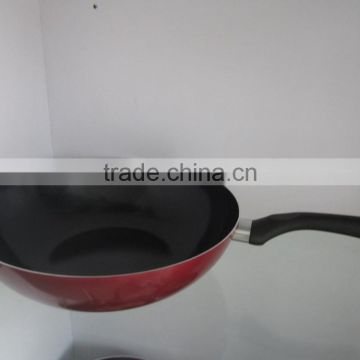 3mm thickness red colo round bottom wok pan wothout cover