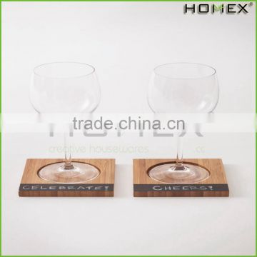 Bamboo glass coaster Bamboo Coasters with Chalkboard Homex-BSCI Factory