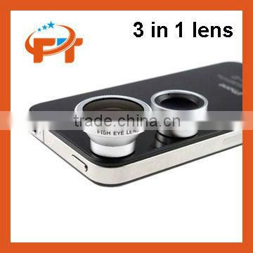 3in1 Fisheye Lens + Wide Angle + Micro Lens photo Kit Set for iPhone 4S 4G