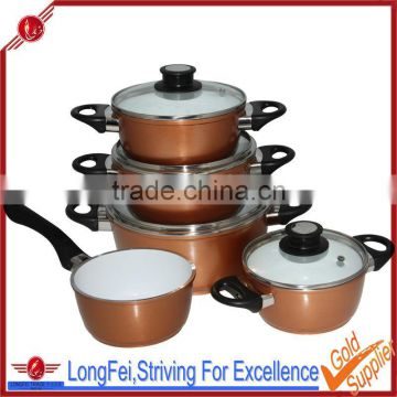 9 piece essential aluminum nonstick set Die casting ceramic coating kitchenware set wholesale