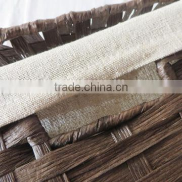 Decorative hand woven paper rope brown laundry hamper with lid