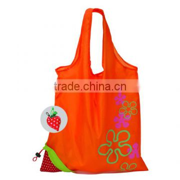 Die cut Handled Style and Navy Blue Polyester Material strawberry drawstring bag