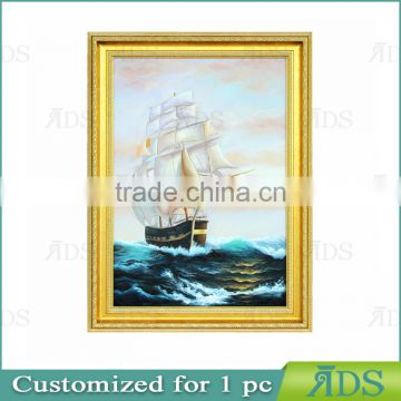 Handmade Modern Sea and Boat Scenery Canvas Oil Painting