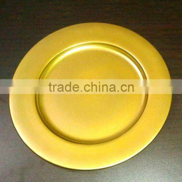 Gold color metal charger plate for Wedding & decoration, Cheap charger platter for Christmas Festival