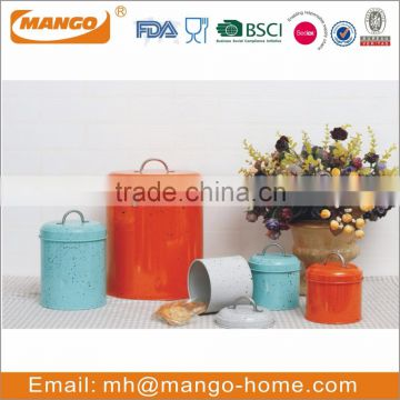 Airtight metal colorful kitchen canister set