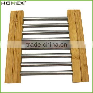 Metal Stainless Steel Bamboo Extensible Trivet/Homex_Factory