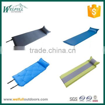 Joinable splicing outdoor air self inflatable camping sleeping mat with pillow