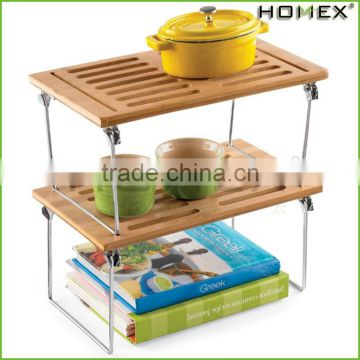 Bamboo stackable shelves for kitchen Homex-BSCI