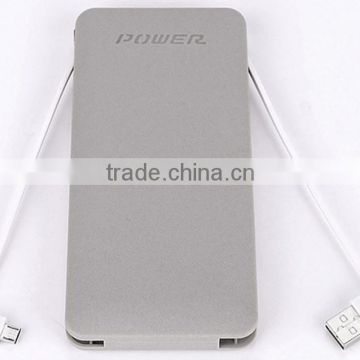 10000mAh Power Bank with Built-In Micro USB Cables & USB Ports 5V 2.1A