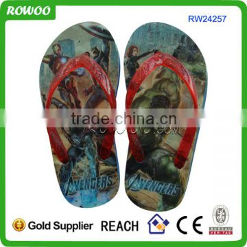 Digital print cartoon online wholesale OEM brand name flip flops for kids