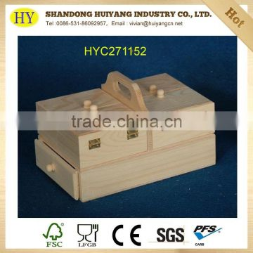Two layer lightweight drawer wood sewing set box