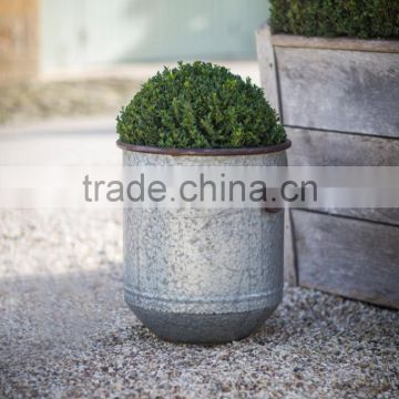 Large Rustic Galvanised Planter.