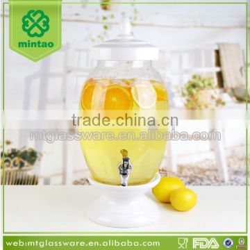 7.5L Hot selling men blowin wholesale glass beverage dispenser with ceramic base
