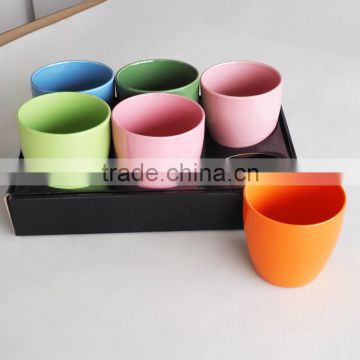2017 fashionable ceramic solid color garden flower cheap pots and planters