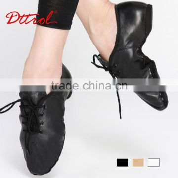 Cheap women lace up tan leather sole jazz shoes ballroom dance shoes wholesale D004718