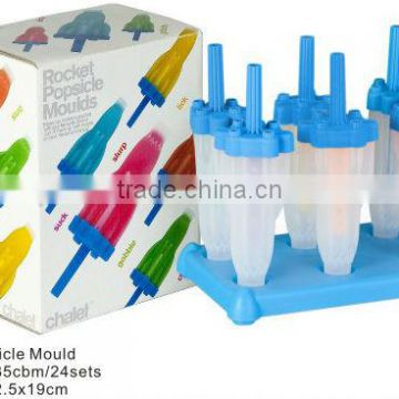 Plastic rocket popsicle molds and ice lolly moulds