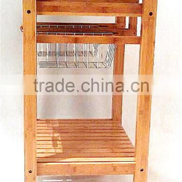 Hot sale bamboo kitchen trolley design with basket and wheels