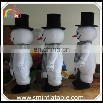 Lovely snowman mascot costume, three person snowman fur costume for adult