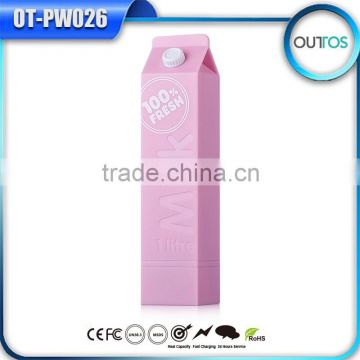 2600mah usb portable power bank external battery cute milk shape