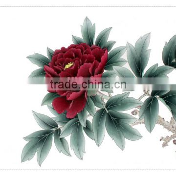 Great fortunes series handmade peony painting with calligraphy for decorate