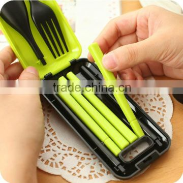 Colorful food safety promotional customized hot sale plastic Kitchenware Kid's Flatware Sets