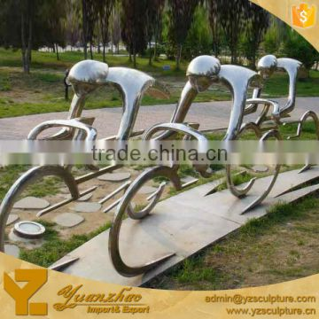 large size garden decoration abstract stainless steel riding bike statue for sale