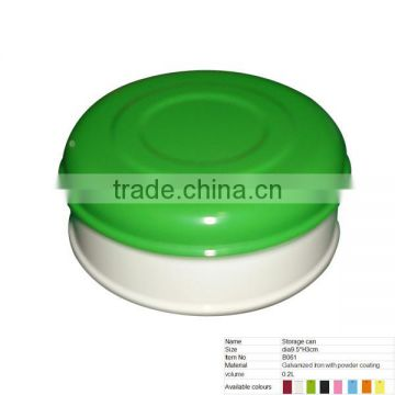B061 Round Iron Biscuit/Cookies Canister Storage Can With Green Lid