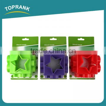 Toprank High Quality Multifunction Colorful Pastry Cookie Cutter Custom 6 In 1 Shaped 3D Plastic Cookie Cutter