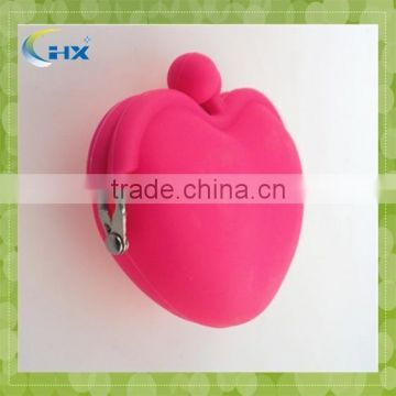 Popular heart shape silicone coin purse / silicone coin wallet