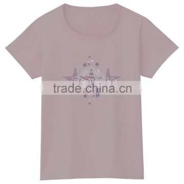 Summer girls cotton tee rhinestones iron on tshirt