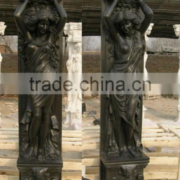 custom made hand carved black marble cheap columns NTMF-C240S